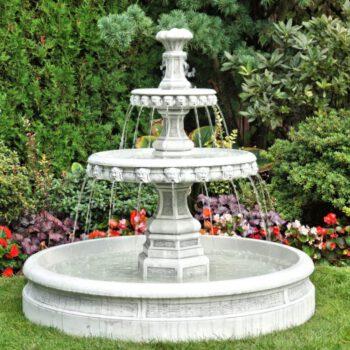 2 Schalen fontein spuitende hoofdjes